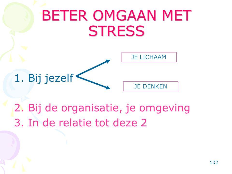 102 BETER OMGAAN MET STRESS 1. Bij jezelf 2. Bij de organisatie, je omgeving 3. In de relatie tot deze 2 JE LICHAAM JE DENKEN