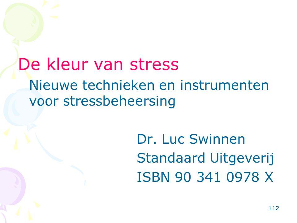 112 De kleur van stress Nieuwe technieken en instrumenten voor stressbeheersing Dr. Luc Swinnen Standaard Uitgeverij ISBN 90 341 0978 X