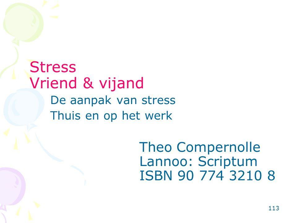 113 Stress Vriend & vijand De aanpak van stress Thuis en op het werk Theo Compernolle Lannoo: Scriptum ISBN 90 774 3210 8