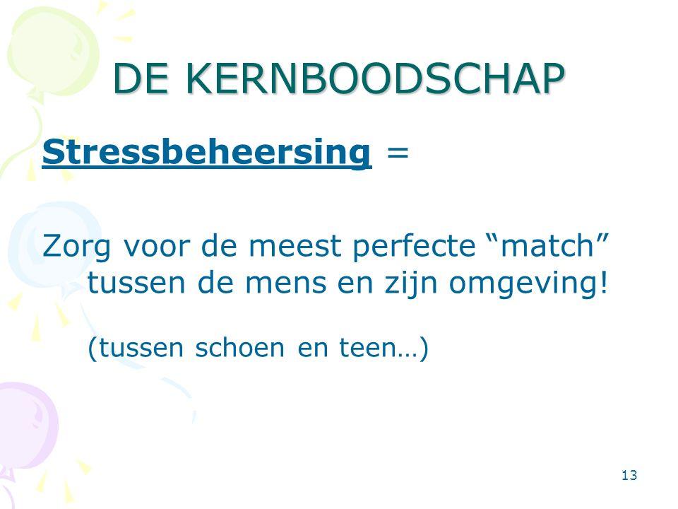 """13 DE KERNBOODSCHAP Stressbeheersing = Zorg voor de meest perfecte """"match"""" tussen de mens en zijn omgeving! (tussen schoen en teen…)"""
