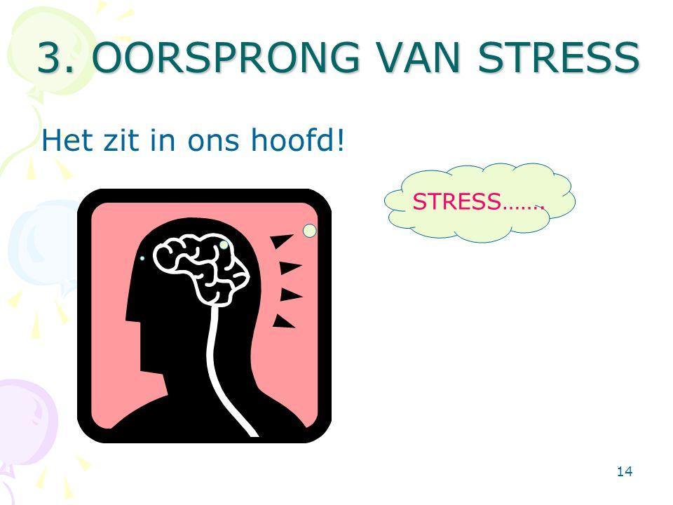 14 3. OORSPRONG VAN STRESS Het zit in ons hoofd! STRESS…….