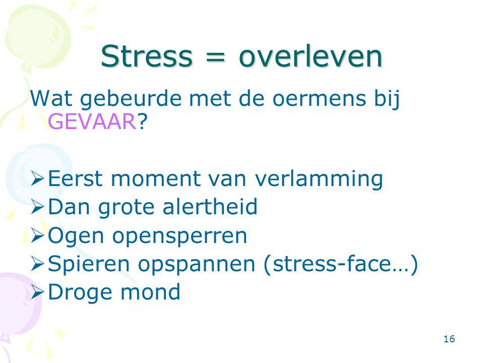 16 Stress = overleven Wat gebeurde met de oermens bij GEVAAR?  Eerst moment van verlamming  Dan grote alertheid  Ogen opensperren  Spieren opspann