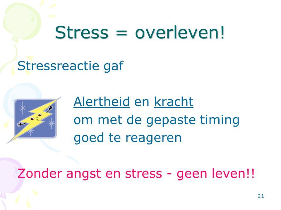 21 Stress = overleven! Stressreactie gaf Alertheid en kracht om met de gepaste timing goed te reageren Zonder angst en stress - geen leven!!