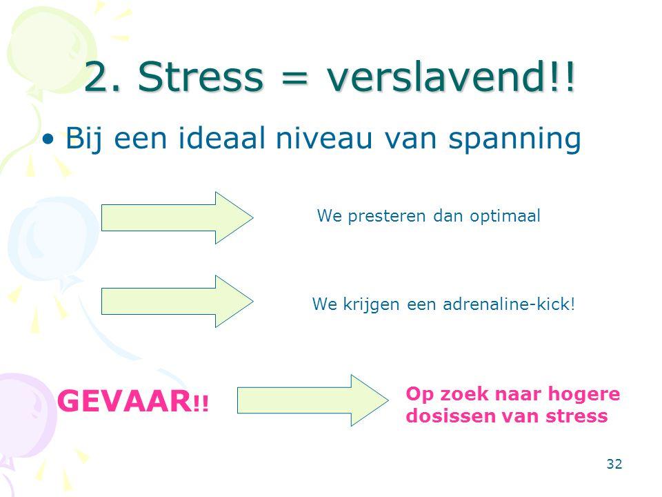 32 2. Stress = verslavend!! Bij een ideaal niveau van spanning We presteren dan optimaal We krijgen een adrenaline-kick! GEVAAR !! Op zoek naar hogere