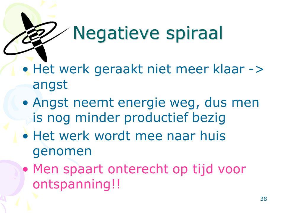 38 Negatieve spiraal Negatieve spiraal Het werk geraakt niet meer klaar -> angst Angst neemt energie weg, dus men is nog minder productief bezig Het werk wordt mee naar huis genomen Men spaart onterecht op tijd voor ontspanning!!