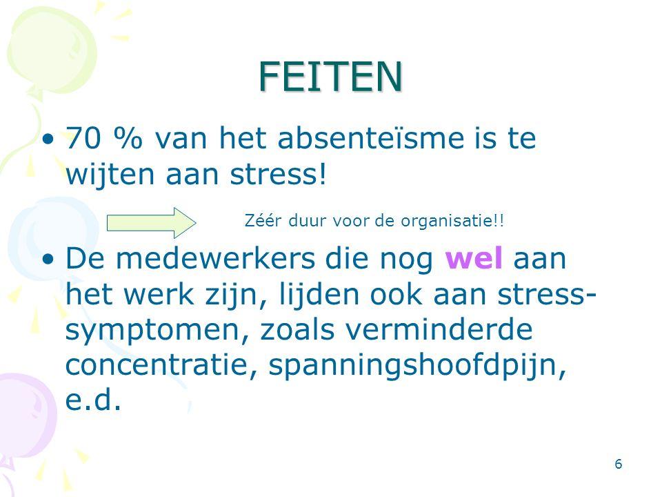 6 FEITEN 70 % van het absenteïsme is te wijten aan stress! De medewerkers die nog wel aan het werk zijn, lijden ook aan stress- symptomen, zoals vermi