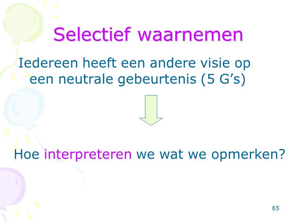 65 Selectief waarnemen Iedereen heeft een andere visie op een neutrale gebeurtenis (5 G's) Hoe interpreteren we wat we opmerken
