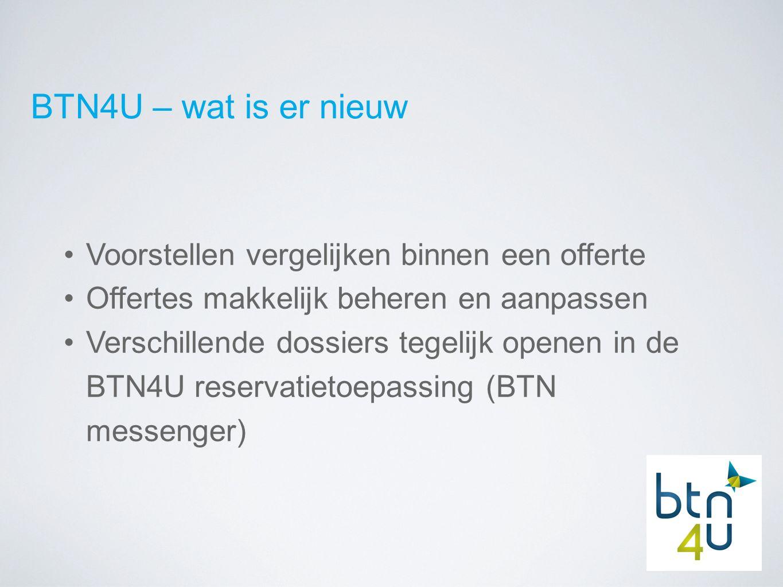 BTN4U – wat is er nieuw Voorstellen vergelijken binnen een offerte Offertes makkelijk beheren en aanpassen Verschillende dossiers tegelijk openen in de BTN4U reservatietoepassing (BTN messenger)