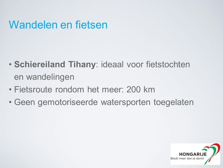 Wandelen en fietsen Schiereiland Tihany: ideaal voor fietstochten en wandelingen Fietsroute rondom het meer: 200 km Geen gemotoriseerde watersporten toegelaten
