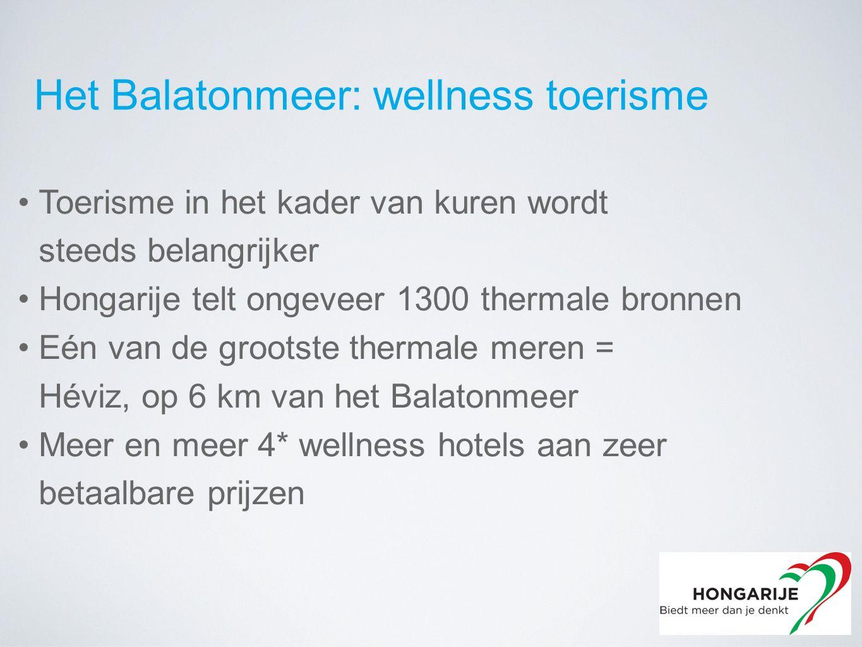 Toerisme in het kader van kuren wordt steeds belangrijker Hongarije telt ongeveer 1300 thermale bronnen Eén van de grootste thermale meren = Héviz, op 6 km van het Balatonmeer Meer en meer 4* wellness hotels aan zeer betaalbare prijzen Het Balatonmeer: wellness toerisme