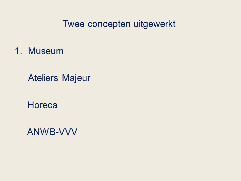 Twee concepten uitgewerkt 1.Museum Ateliers Majeur Horeca ANWB-VVV