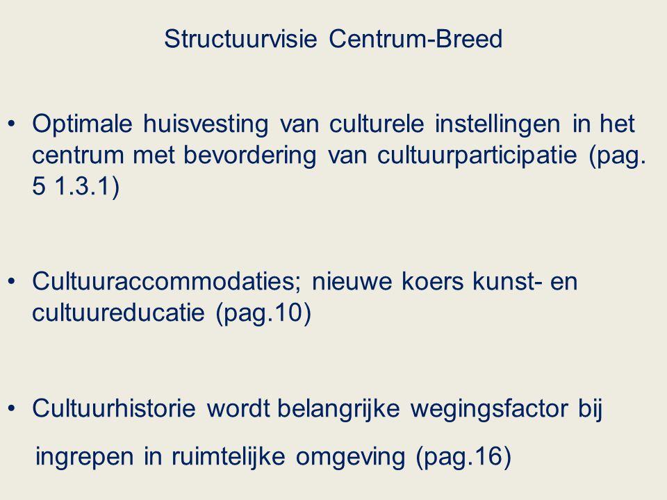Structuurvisie Centrum-Breed Optimale huisvesting van culturele instellingen in het centrum met bevordering van cultuurparticipatie (pag.
