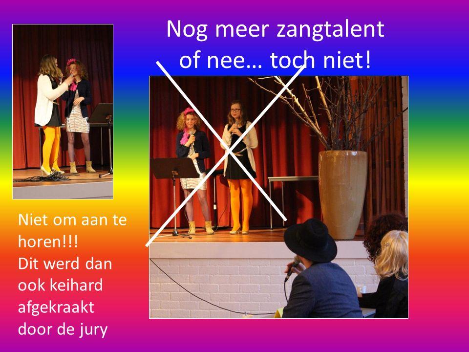 Nog meer zangtalent of nee… toch niet! Niet om aan te horen!!! Dit werd dan ook keihard afgekraakt door de jury