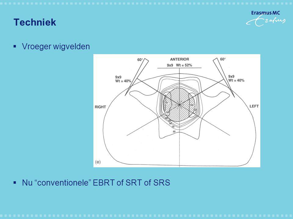 Techniek  Vroeger wigvelden  Nu conventionele EBRT of SRT of SRS