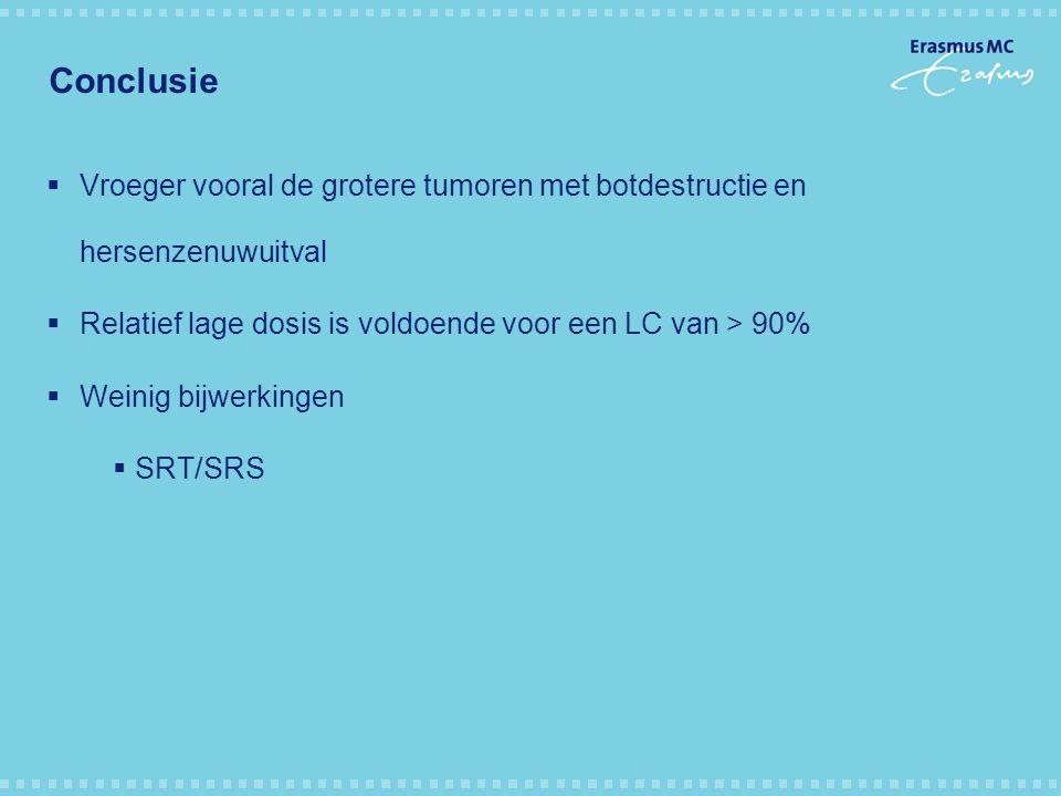 Conclusie  Vroeger vooral de grotere tumoren met botdestructie en hersenzenuwuitval  Relatief lage dosis is voldoende voor een LC van > 90%  Weinig bijwerkingen  SRT/SRS