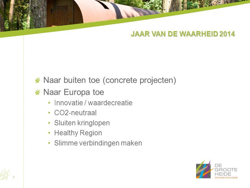 JAAR VAN DE WAARHEID 2014 Naar buiten toe (concrete projecten) Naar Europa toe Innovatie / waardecreatie CO2-neutraal Sluiten kringlopen Healthy Region Slimme verbindingen maken 7