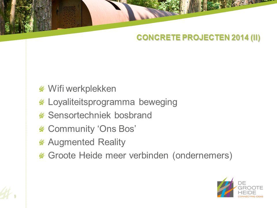 CONCRETE PROJECTEN 2014 (II) Wifi werkplekken Loyaliteitsprogramma beweging Sensortechniek bosbrand Community 'Ons Bos' Augmented Reality Groote Heide meer verbinden (ondernemers) 9