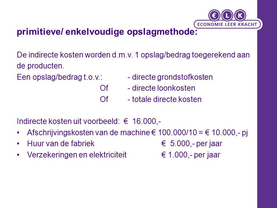 primitieve/ enkelvoudige opslagmethode: De indirecte kosten worden d.m.v.