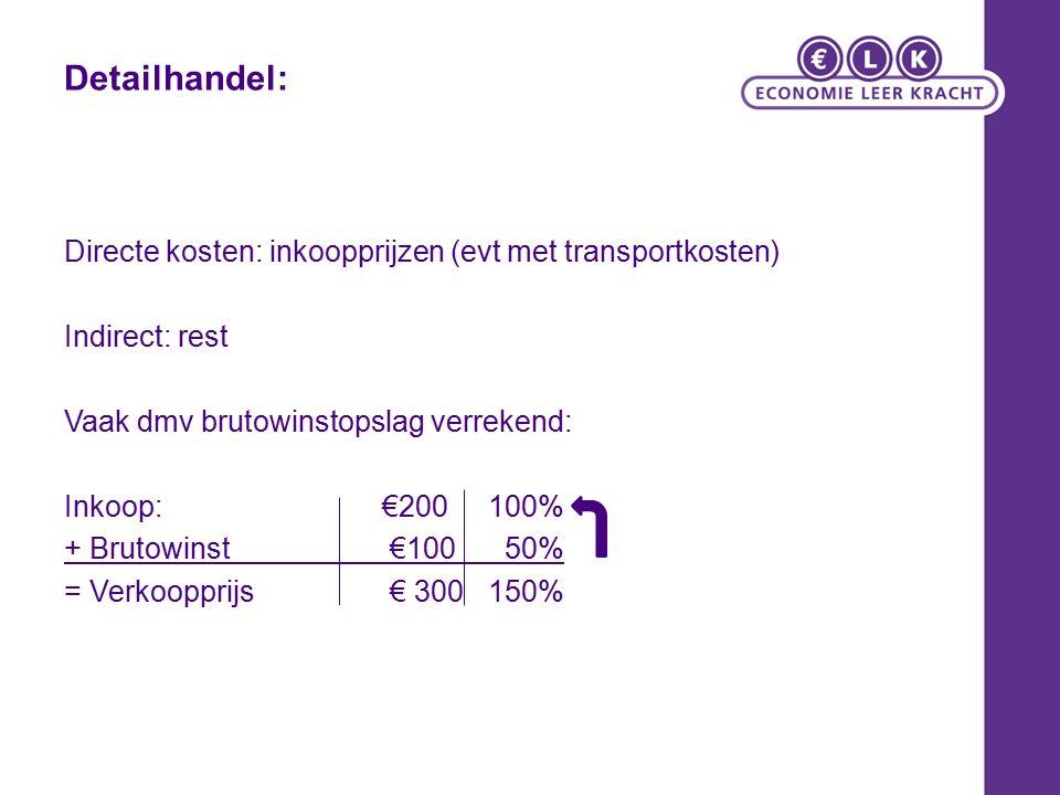 Detailhandel: Directe kosten: inkoopprijzen (evt met transportkosten) Indirect: rest Vaak dmv brutowinstopslag verrekend: Inkoop:€200100% + Brutowinst €100 50% = Verkoopprijs € 300150%