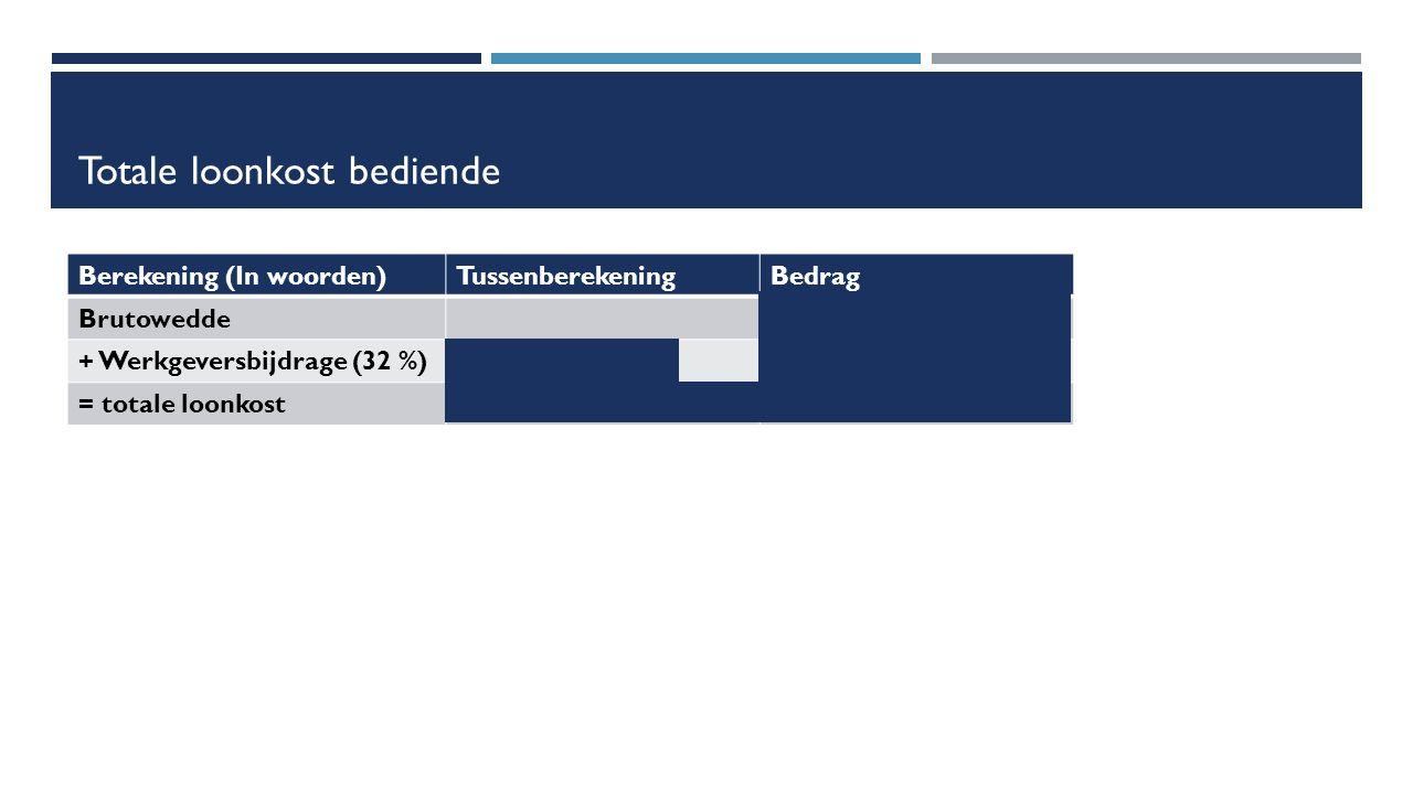 Totale loonkost bediende Berekening (In woorden)TussenberekeningBedrag Brutowedde€ 2 300 + Werkgeversbijdrage (32 %)(32 /100) * 2 300€ 736 = totale loonkost2 300 + 736€ 3 036