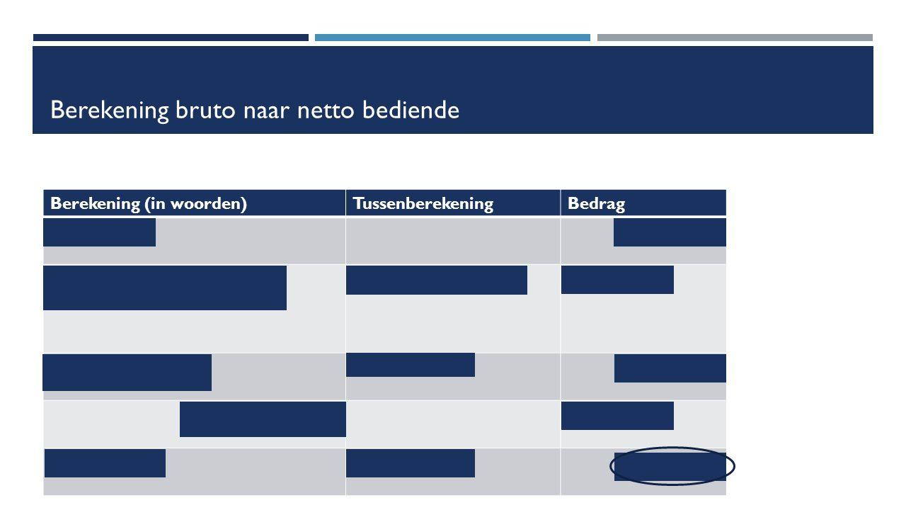Berekening bruto naar netto bediende Berekening (in woorden)TussenberekeningBedrag Brutowedde€ 2 300 -RSZ-bijdrage (13,07 % op brutowedde) (13,07 / 100) * 2 300- € 300,61 = belastbare wedde2 300 – 300,61= € 1 999,39 - bedrijfsvoorheffing-€ 600 = nettowedde1 999,39 - 600= € 1 399,39