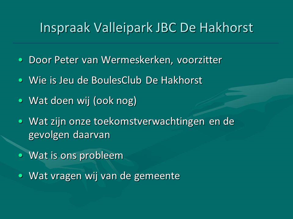 Inspraak Valleipark JBC De Hakhorst Door Peter van Wermeskerken, voorzitterDoor Peter van Wermeskerken, voorzitter Wie is Jeu de BoulesClub De Hakhors