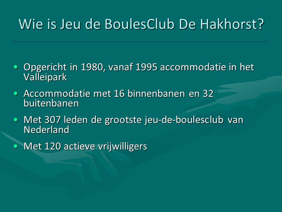 Wie is Jeu de BoulesClub De Hakhorst? Opgericht in 1980, vanaf 1995 accommodatie in het ValleiparkOpgericht in 1980, vanaf 1995 accommodatie in het Va
