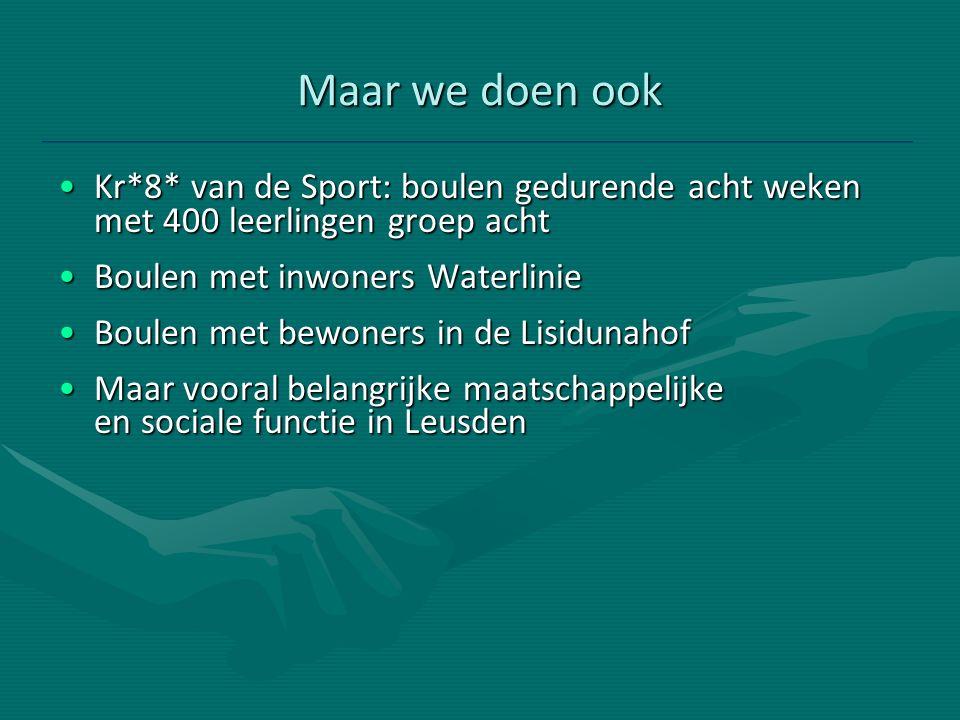 Maar we doen ook Kr*8* van de Sport: boulen gedurende acht weken met 400 leerlingen groep achtKr*8* van de Sport: boulen gedurende acht weken met 400
