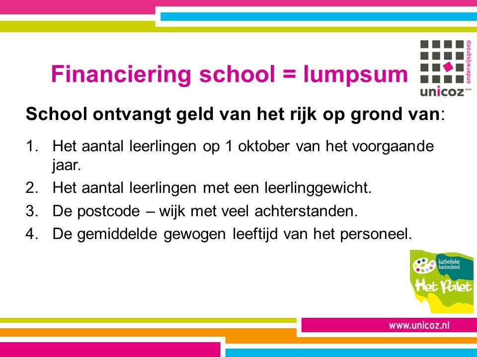 Financiering school = lumpsum School ontvangt geld van het rijk op grond van: 1.Het aantal leerlingen op 1 oktober van het voorgaande jaar. 2.Het aant