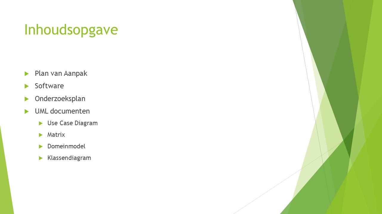 Inhoudsopgave  Plan van Aanpak  Software  Onderzoeksplan  UML documenten  Use Case Diagram  Matrix  Domeinmodel  Klassendiagram