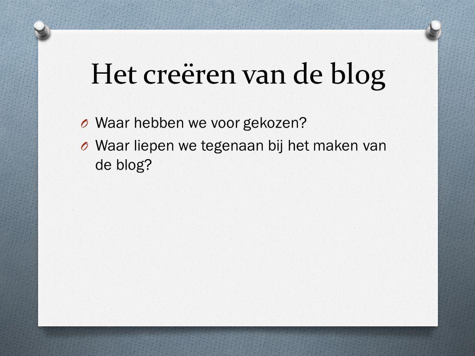 Het creëren van de blog O Waar hebben we voor gekozen.