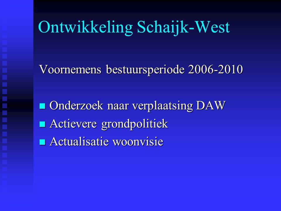Ontwikkeling Schaijk-West Voornemens bestuursperiode 2006-2010 Onderzoek naar verplaatsing DAW Onderzoek naar verplaatsing DAW Actievere grondpolitiek Actievere grondpolitiek Actualisatie woonvisie Actualisatie woonvisie