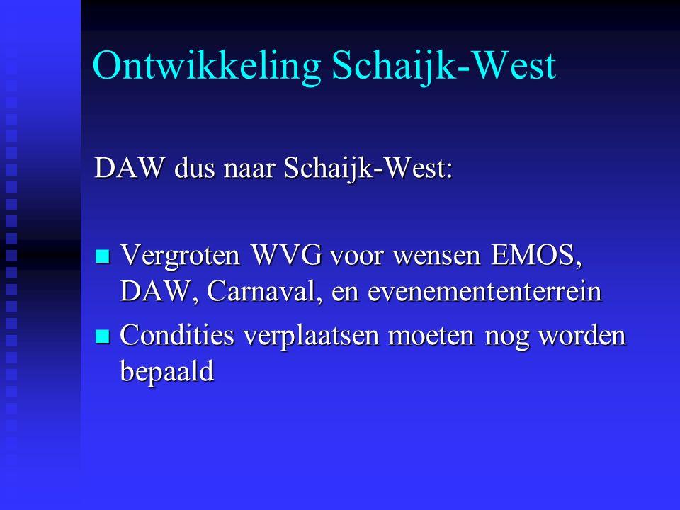 Ontwikkeling Schaijk-West DAW dus naar Schaijk-West: Vergroten WVG voor wensen EMOS, DAW, Carnaval, en evenemententerrein Vergroten WVG voor wensen EMOS, DAW, Carnaval, en evenemententerrein Condities verplaatsen moeten nog worden bepaald Condities verplaatsen moeten nog worden bepaald