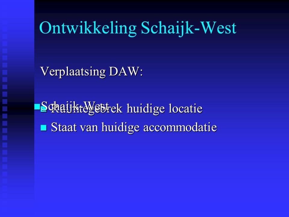 Ontwikkeling Schaijk-West Verplaatsing DAW: Ruimtegebrek huidige locatie Ruimtegebrek huidige locatie Staat van huidige accommodatie Staat van huidige accommodatie Schaijk-West Schaijk-West