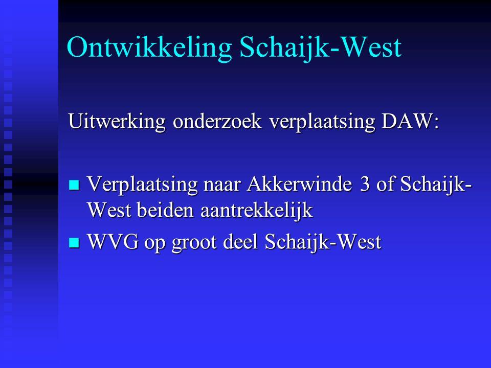 Ontwikkeling Schaijk-West Uitwerking onderzoek verplaatsing DAW: Verplaatsing naar Akkerwinde 3 of Schaijk- West beiden aantrekkelijk Verplaatsing naar Akkerwinde 3 of Schaijk- West beiden aantrekkelijk WVG op groot deel Schaijk-West WVG op groot deel Schaijk-West
