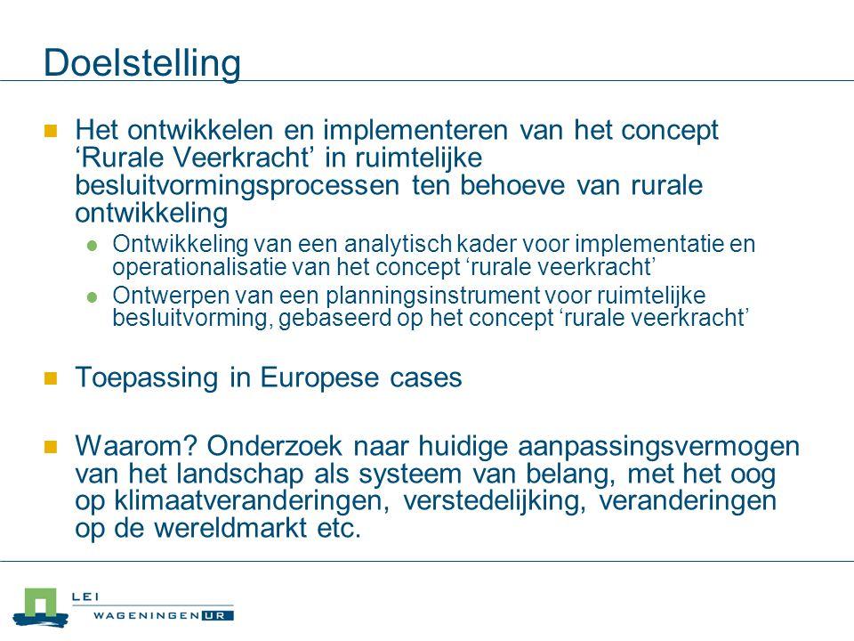 Doelstelling Het ontwikkelen en implementeren van het concept 'Rurale Veerkracht' in ruimtelijke besluitvormingsprocessen ten behoeve van rurale ontwikkeling Ontwikkeling van een analytisch kader voor implementatie en operationalisatie van het concept 'rurale veerkracht' Ontwerpen van een planningsinstrument voor ruimtelijke besluitvorming, gebaseerd op het concept 'rurale veerkracht' Toepassing in Europese cases Waarom.