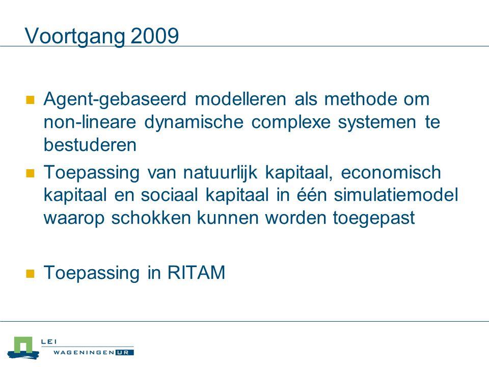 Voortgang 2009 Agent-gebaseerd modelleren als methode om non-lineare dynamische complexe systemen te bestuderen Toepassing van natuurlijk kapitaal, economisch kapitaal en sociaal kapitaal in één simulatiemodel waarop schokken kunnen worden toegepast Toepassing in RITAM