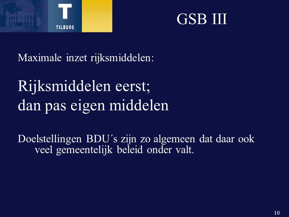 10 GSB III Maximale inzet rijksmiddelen: Rijksmiddelen eerst; dan pas eigen middelen Doelstellingen BDU´s zijn zo algemeen dat daar ook veel gemeentelijk beleid onder valt.