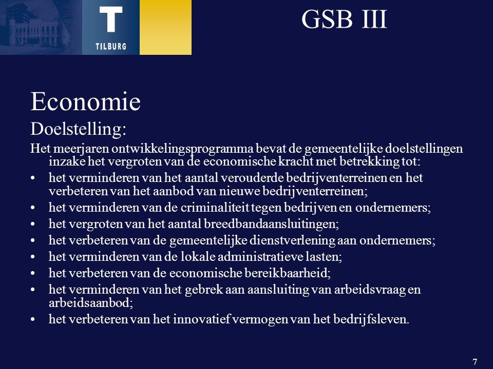 7 GSB III Economie Doelstelling: Het meerjaren ontwikkelingsprogramma bevat de gemeentelijke doelstellingen inzake het vergroten van de economische kracht met betrekking tot: het verminderen van het aantal verouderde bedrijventerreinen en het verbeteren van het aanbod van nieuwe bedrijventerreinen; het verminderen van de criminaliteit tegen bedrijven en ondernemers; het vergroten van het aantal breedbandaansluitingen; het verbeteren van de gemeentelijke dienstverlening aan ondernemers; het verminderen van de lokale administratieve lasten; het verbeteren van de economische bereikbaarheid; het verminderen van het gebrek aan aansluiting van arbeidsvraag en arbeidsaanbod; het verbeteren van het innovatief vermogen van het bedrijfsleven.
