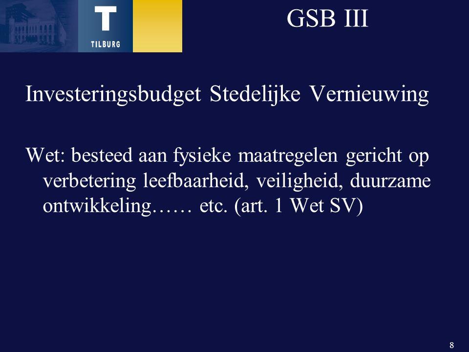 8 GSB III Investeringsbudget Stedelijke Vernieuwing Wet: besteed aan fysieke maatregelen gericht op verbetering leefbaarheid, veiligheid, duurzame ontwikkeling…… etc.