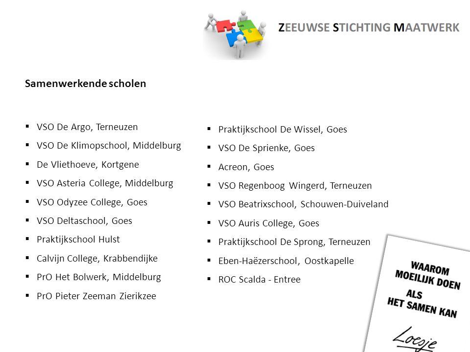 1 Arbeidsmarktregio: - Zeeland 3 Regio's: - Walcheren - Oosterschelderegio - Zeeuws-Vlaanderen 13 Gemeenten 19 Scholen