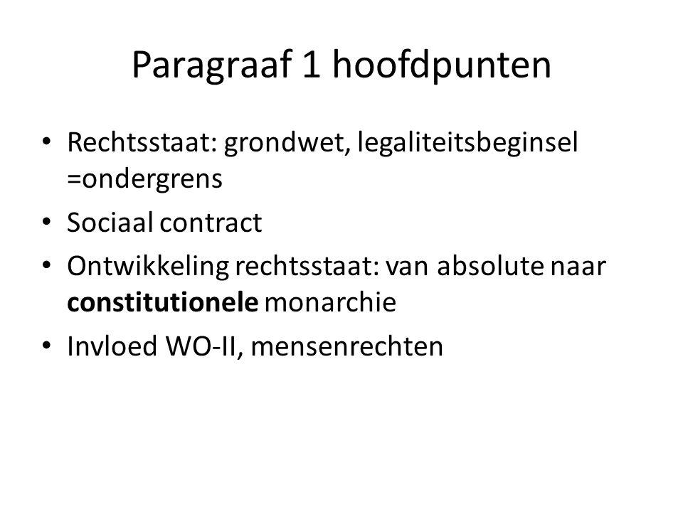 Paragraaf 1 hoofdpunten Rechtsstaat: grondwet, legaliteitsbeginsel =ondergrens Sociaal contract Ontwikkeling rechtsstaat: van absolute naar constitutionele monarchie Invloed WO-II, mensenrechten
