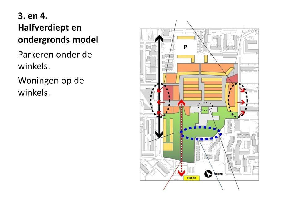 3. en 4. Halfverdiept en ondergronds model Parkeren onder de winkels. Woningen op de winkels.