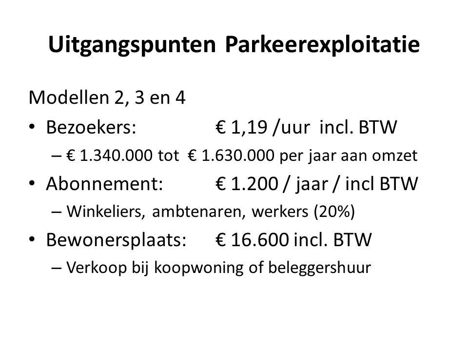 Uitgangspunten Parkeerexploitatie Modellen 2, 3 en 4 Bezoekers: € 1,19 /uur incl. BTW – € 1.340.000 tot € 1.630.000 per jaar aan omzet Abonnement: € 1