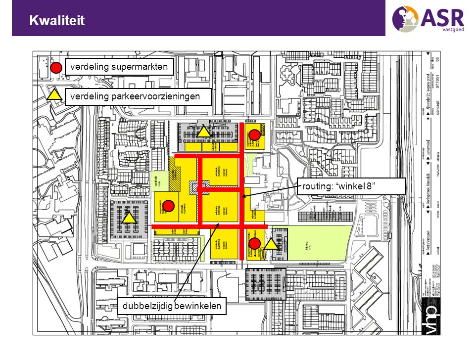 """Kwaliteit routing: """"winkel 8"""" dubbelzijdig bewinkelen verdeling supermarkten verdeling parkeervoorzieningen"""