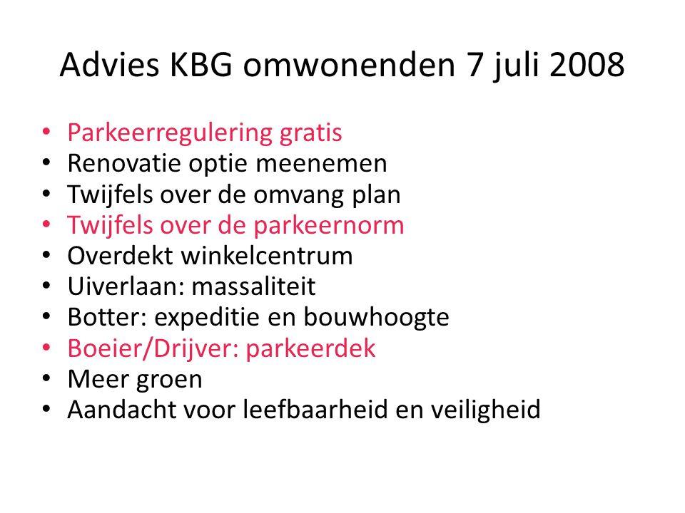 Advies KBG omwonenden 7 juli 2008 Parkeerregulering gratis Renovatie optie meenemen Twijfels over de omvang plan Twijfels over de parkeernorm Overdekt