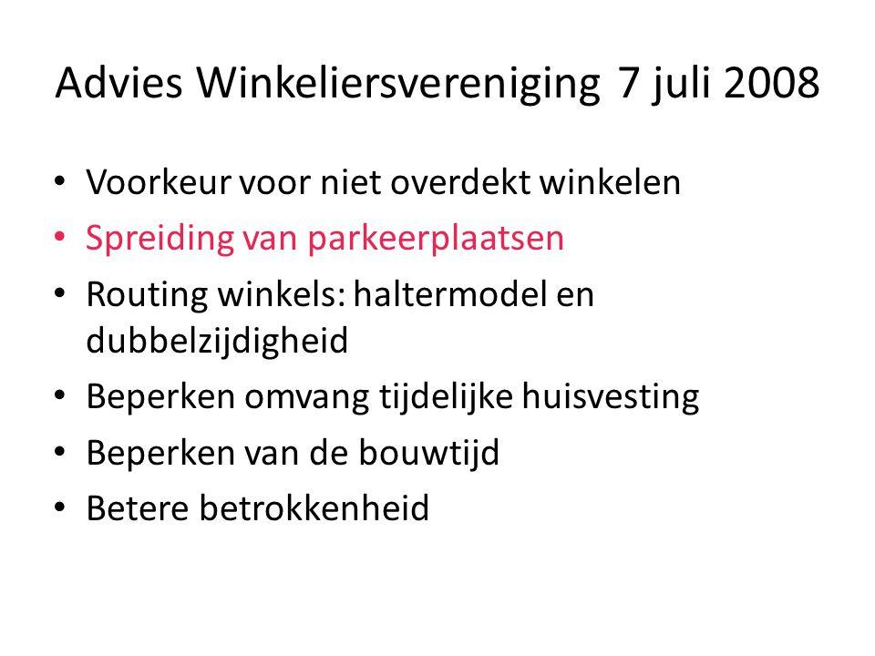 Advies Winkeliersvereniging 7 juli 2008 Voorkeur voor niet overdekt winkelen Spreiding van parkeerplaatsen Routing winkels: haltermodel en dubbelzijdi