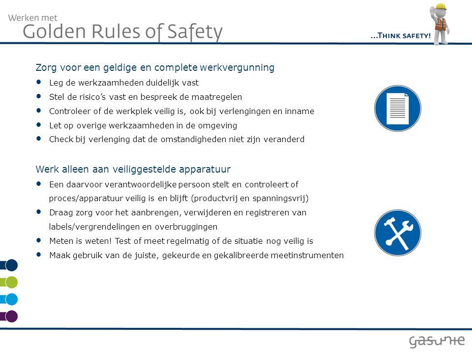 Zorg voor een geldige en complete werkvergunning Leg de werkzaamheden duidelijk vast Stel de risico's vast en bespreek de maatregelen Controleer of de