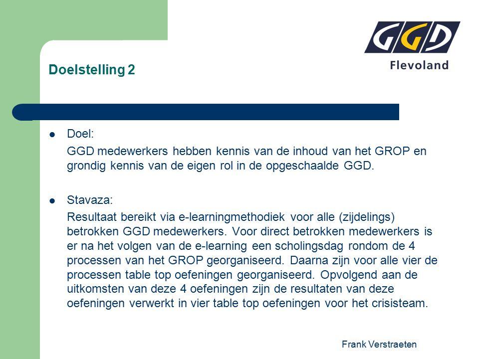 Frank Verstraeten Doelstelling 2 Doel: GGD medewerkers hebben kennis van de inhoud van het GROP en grondig kennis van de eigen rol in de opgeschaalde GGD.