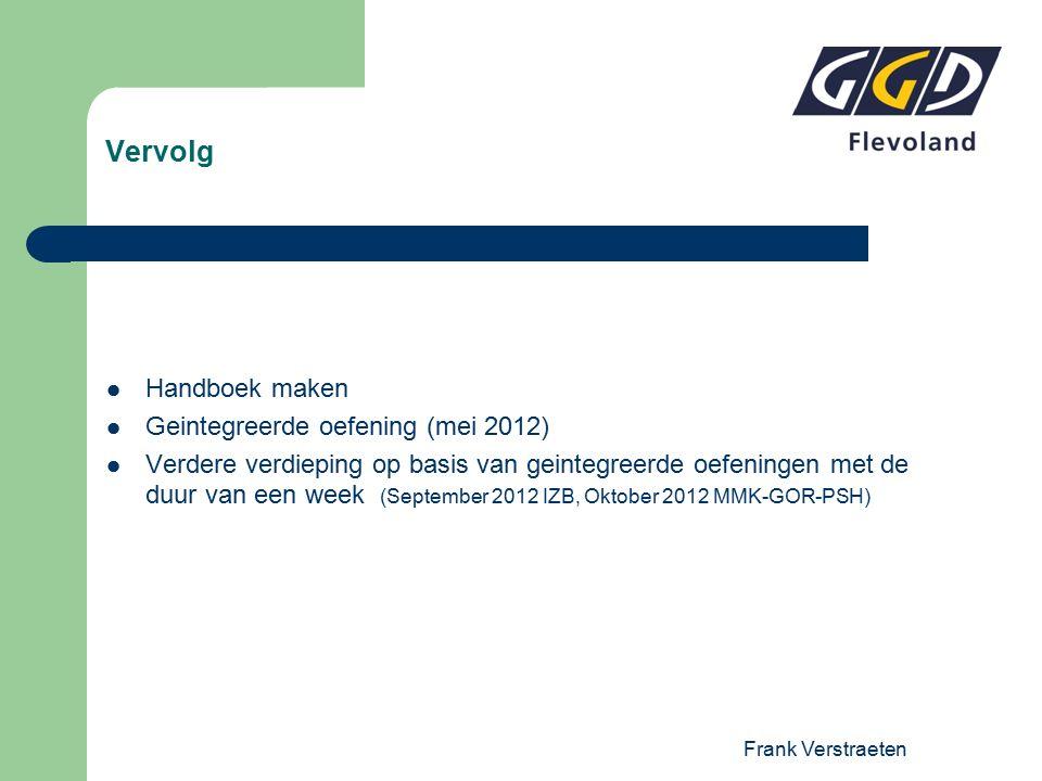Frank Verstraeten Vervolg Handboek maken Geintegreerde oefening (mei 2012) Verdere verdieping op basis van geintegreerde oefeningen met de duur van een week (September 2012 IZB, Oktober 2012 MMK-GOR-PSH)